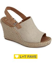 TOMS Women's Monica Textile Wedge Espadrilles - Natural