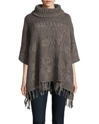Lord & Taylor - Cowl Neck Fringe Poncho - Lyst