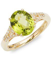 Lord + Taylor - 14k Yellow Gold Diamond And Peridot Ring - Lyst