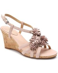 Tahari - Favour Floral Suede Wedge Sandals - Lyst