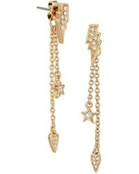 Karl Lagerfeld - Ikonik Swarovski Crystal Mini Rocky Faux Threader Earrings - Lyst