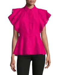 Isaac Mizrahi New York - Button Up Ruffle Sleeve Peplum Top - Lyst