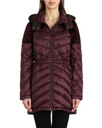 Badgley Mischka - Velvet-trim Quilted Puffer Jacket - Lyst