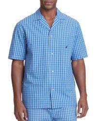 Nautica Plaid Woven Pyjama Shirt - Blue