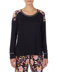 Kensie - Floral-trimmed Long-sleeve Pyjama Top - Lyst