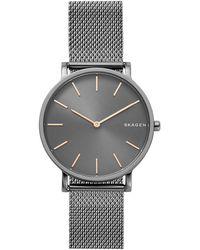 Skagen Hagen Slim Stainless Steel Mesh Bracelet Watch - Gray