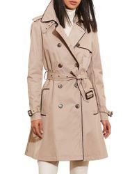 Lauren by Ralph Lauren - Faux Leather Trim Trench Coat (regular & Petite) - Lyst