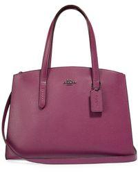 COACH - Charlie Leather Carryall Satchel Bag - Lyst