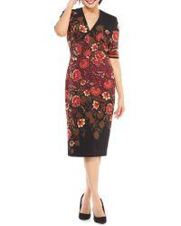 Maggy London - Jacobean Shadow Border Scuba Crepe V-neck Sheath Dress (black/burgundy) Women's Dress - Lyst