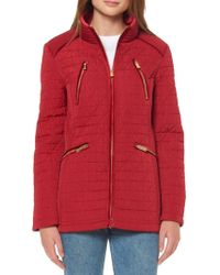 Ellen Tracy - Velvet-trimmed Quilted Jacket - Lyst