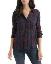 Lucky Brand - Pleated Back Plaid Blouse With Chenille - Lyst