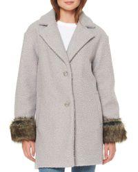 Ellen Tracy - Faux Fur Cuffed Coat - Lyst