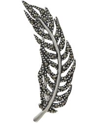 Lord + Taylor Marcasite Feather Brooch - Metallic