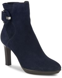 Aquatalia - Rachele Suede Buckled Booties - Lyst