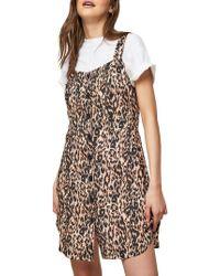 Miss Selfridge - Leopard Printed Pinny Dress - Lyst