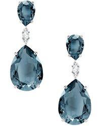 Swarovski Vintage Drop Pierced Earrings - Blue
