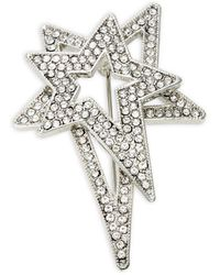 Lord + Taylor Silvertone & Crystal Star Brooch In Gift Box - Metallic