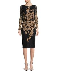 Xscape - Embroidered Floral Long Sleeved Dress - Lyst
