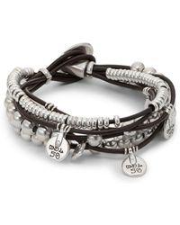 Uno De 50 Leather And Bead Charm Bracelet - Metallic