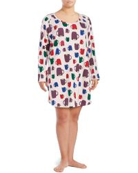 Lord & Taylor - Plus Printed Long Sleeve Dress - Lyst