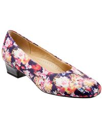 Trotters - Doris Printed Floral Suede Block Heel Court Shoes - Lyst