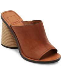 Dolce Vita Alba Leather And Jute Mules - Brown
