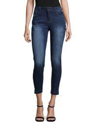 Kensie Release Hem Denim Cropped Jeans - Blue