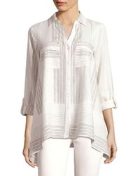 Jones New York - Printed Flare Hem Shirt - Lyst