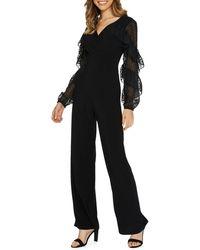 Quiz Mesh-sleeve Palazzo Jumpsuit - Black