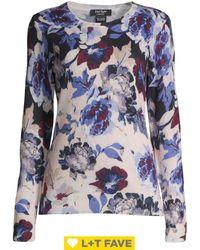 Lord + Taylor Plus Plus Floral Cashmere Boatneck Jumper - Blue