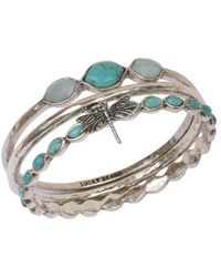 Lucky Brand Silvertone And Faux Turquoise 3-piece Bangle Set - Metallic