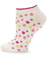 Kate Spade Floral No Show Socks - White