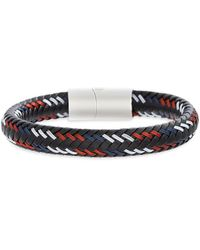 Lord + Taylor Leather & Stainless Steel Braided Bracelet - Black