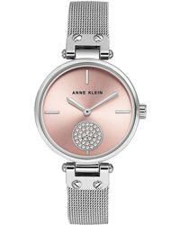 Anne Klein Silvertone Stainless Steel & Swarovski Crystal Mesh Bracelet Watch - Metallic