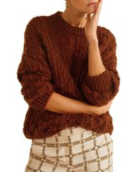 Mango Open-knit Sweater - Brown
