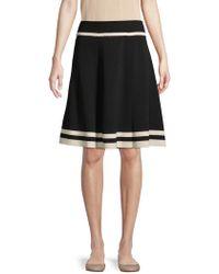 Anne Klein Knit Flare Pleated Skirt - Black