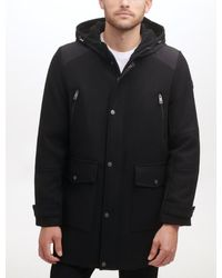 Kenneth Cole Patch Pocket Mixed Media Hooded Wool Coat - Black