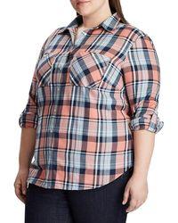 Lauren by Ralph Lauren - Plus Relaxed-fit Plaid Cotton Button-down Shirt - Lyst