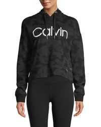 Calvin Klein Logo Oversize Cropped Hoodie - Black