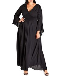 City Chic - Plus Shirred V-neck Maxi Dress - Lyst