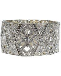 Kenneth Jay Lane - Crystal Art Deco Stretch Cuff Bracelet - Lyst
