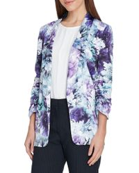 Tahari - Ruched-sleeve Floral Shawl Jacket - Lyst