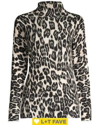 Lord + Taylor Leopard-print Turtleneck Top - Gray