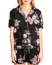 Pj Salvage Bonita Beach Floral Button-down Short Sleeve Top - Black