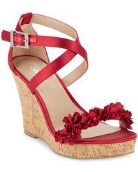 Charles David Lauryn Satin Wedge Sandals - Red