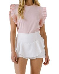 English Factory All Knit Ruffle Detail Top - Pink