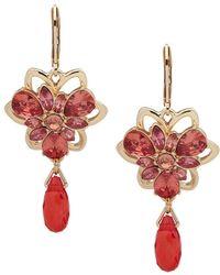 Anne Klein - Goldtone And Glass Stone Flower Drop Earrings - Lyst