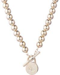 Lauren by Ralph Lauren Logo Toggle Necklace - Metallic