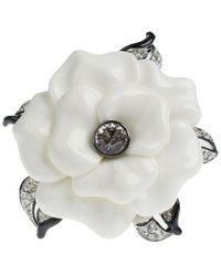 Kenneth Jay Lane Crystal Flower Pin - White