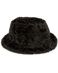 Kate Spade Faux Shearling Bucket Hat - Black